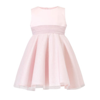 Różowa sukienka bez rękawów z błyszczącym brokatowym tiulem Petite Maison
