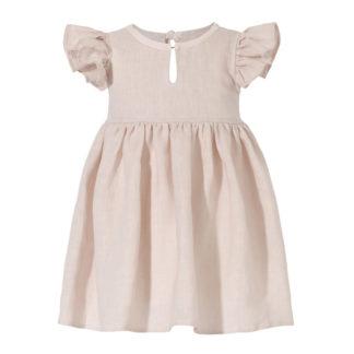 Różowa lniana sukienka letnia dla dziewczynki Petite Maison