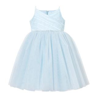 Niebieska sukienka z tiuli dla małej druhny
