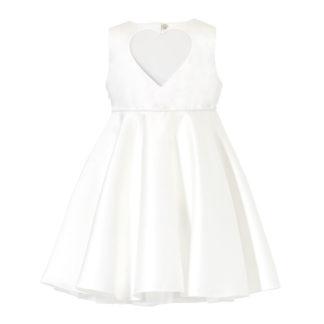 Biała sukienka z satyny z serduszkiem na plecach