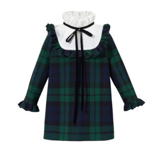Sukienka dla dziewczynki w czarno zieloną kratkę