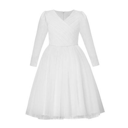 Biała sukienka komunijna z długim rękawem z satyny i tiulu diamencikowy pasek