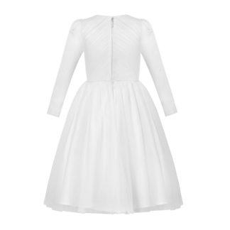 Biała sukienka komunijna z długim rękawem z białej satyny i tiulu diamencikowy pasek zapinana na zamek