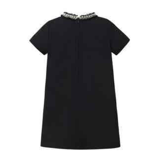 Czarna sukienka chanelka z perełkami dla dziewczynki