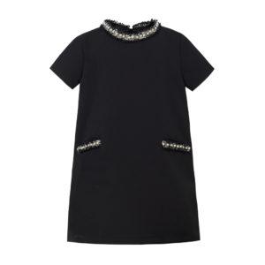 Czarna sukienka dla dziewczynki z perełkami chanelka