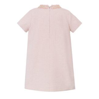 Różowa sukienka chanelka dla dziewczynki z perełkami