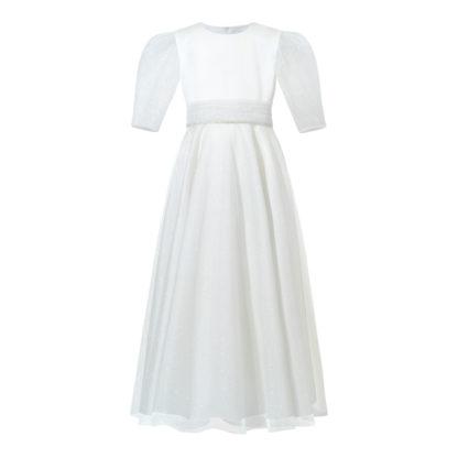 Sukienka komunijna z białej satyny i brokatowego tiulu z diamencikowym paseczkiem i kokardą