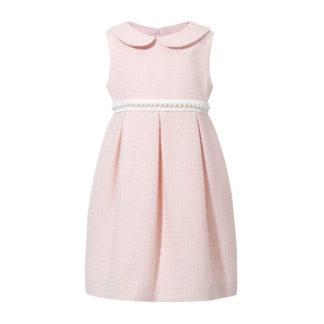 Chanelka sukienka dla dziewczynki różowa z perłami