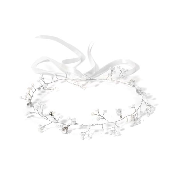 wianek ze srebrnego drucika z białymi koralikami i kryształowymi kwiatuszkami ślubny