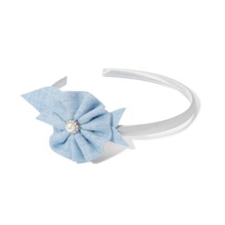 Opaska do włosów z niebieskim kwiatkiem, perełką i diamencikami