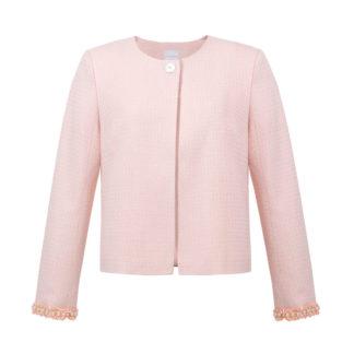 Różowy żakiet dla kobiet w stylu chanel z perełkami