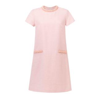 Sukienka dla kobiety różowa chanelka z perełkami i krótkim rękawem Gabrielle