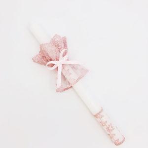 Biała świeca na chrzest święty ręcznie zdobiona różową koronką i profitką