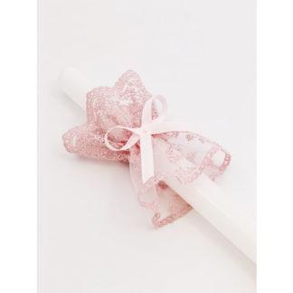 Biała świeca do chrztu świętego z ręcznie robioną koronkową różową profitką